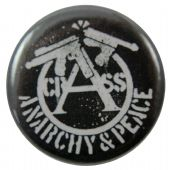 Crass - 'Anarchy of Peace Black' Button Badge